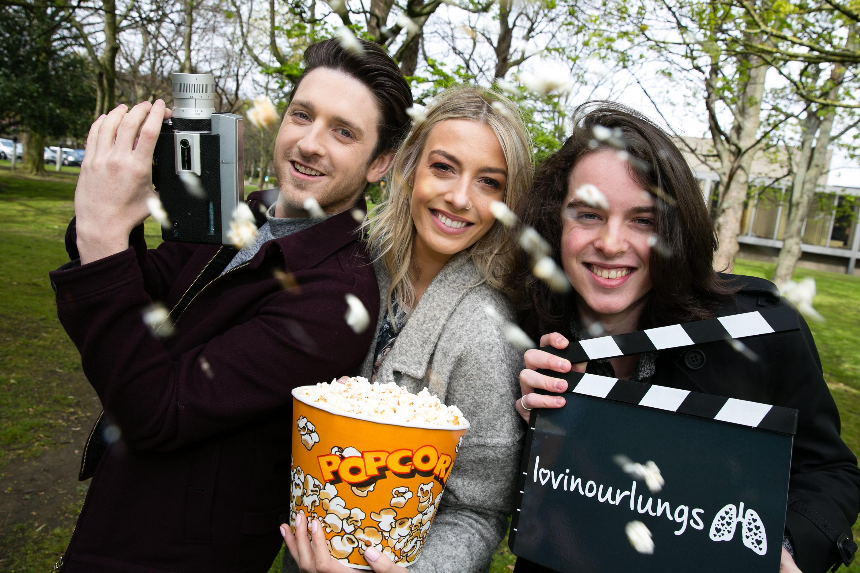 NO FEE FOR REPRO Stephen Byrne, RTÉ Two's Two Tube, Bláthnaid Treacy, RTÉ Two's Two Tube and Ferdia Walsh-Peelo, Sing Street star pictured at the launch of the Lovin' our Lungs Movie competition by the Irish Lung Health Alliance, a coalition of 17 charities, in partnership with Foróige, the national youth development organisation. The competition, which is supported by GSK, was launched against a backdrop of lung disease being the most common health condition in young adults aged 18 to 24 years. The aim is to highlight among teenagers the importance of lung health for a full and active life. The competition is open to teenagers between 12 and 18 years, with the winning entry being televised on RTÉ Two's Two Tube and scooping a thrilling adventure experience. The closing date is Sunday May 22 2016 and full details can be found at www.lovinourlungs.ie Pic Shane O'Neill Photography